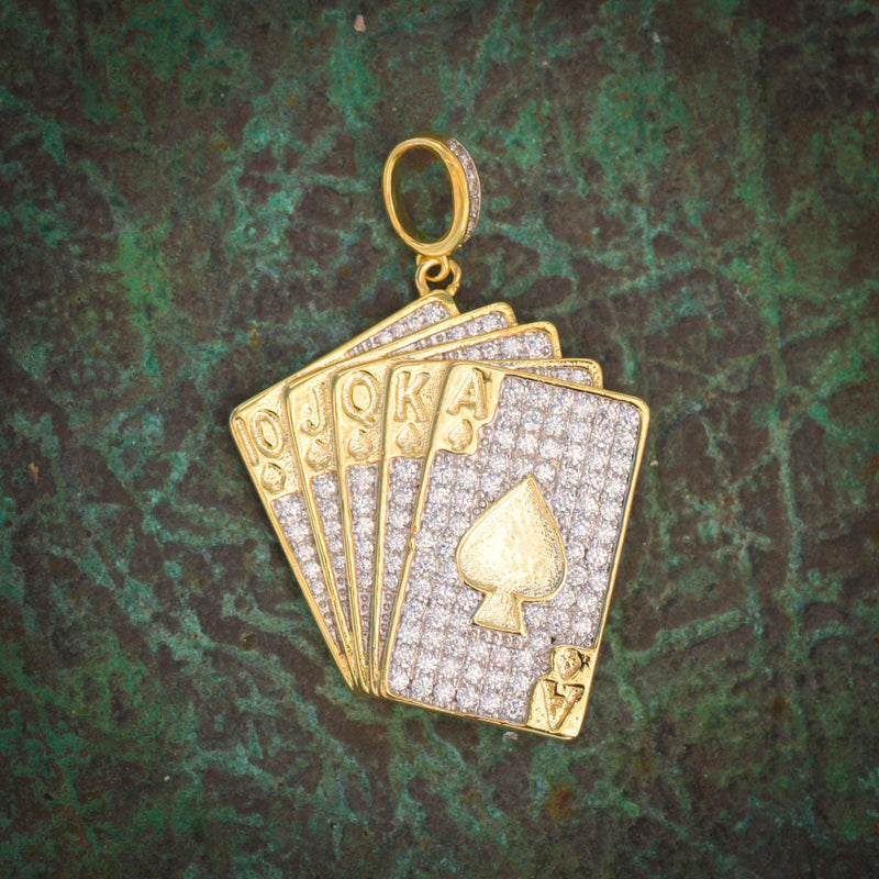 Poker Playing Cards Fully Iced Out Pendant 14k Yellow Gold Finish With Tennis Link Chain