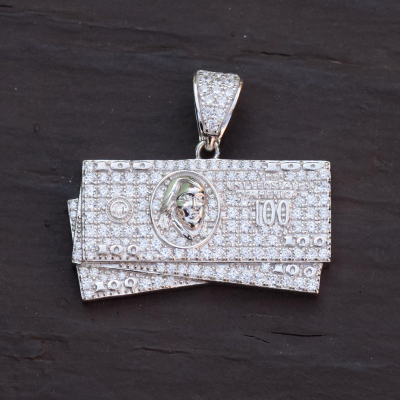 100 Hundred Dollar Bill Pendant 14 White Gold Finish Over Sterling Silver With Tennis Link Chain