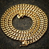 8MM Men's Miami Cuban Link chain 14k Yellow Gold Finish Over Stainless Steel 30 IN
