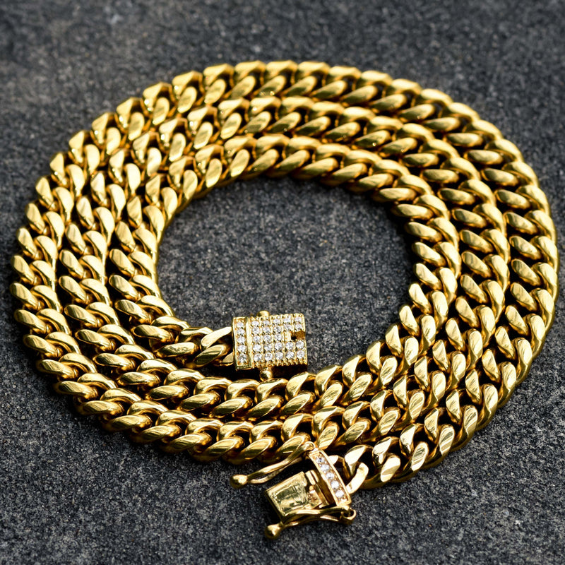 "Stainless Steel Men's Cuban Chain Iced Out Lock 24"" 8mm 14k Gold Finish"