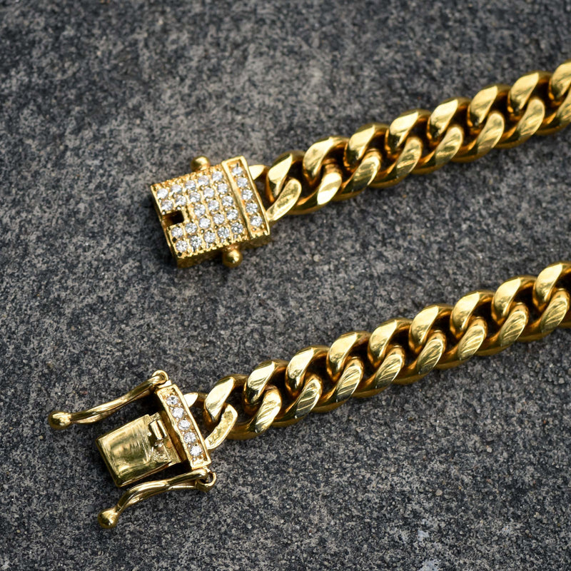 Stainless Steel Men's Cuban Chain Iced Out Lock 24