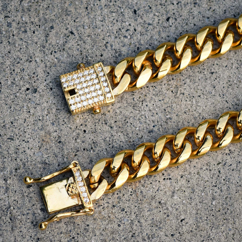 10MM Miami Cuban Stainless Steel Iced Out Lock 14k Yellow Gold Finish 24 Chain