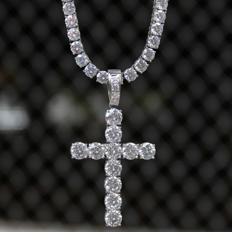 Solitaire Designer Cross Pendant 14k White Gold Finish Over Stainless Steel 6mm With Tennis Link Chain