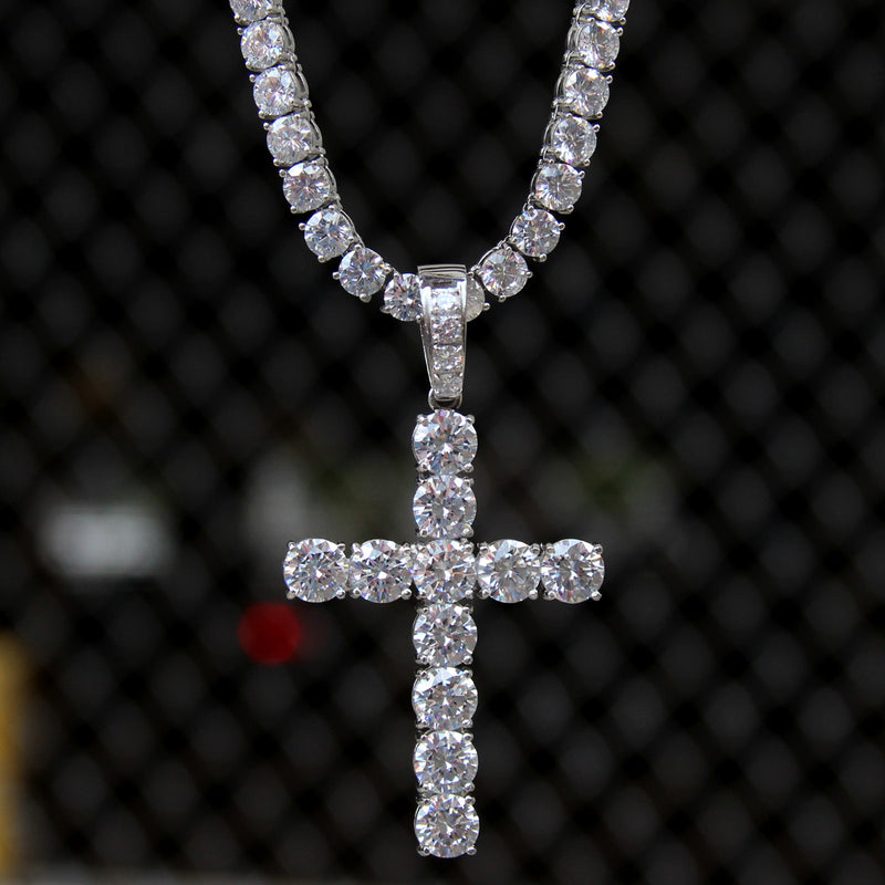 Solitaire Designer Cross Pendant 14k White Gold Finish Over Stainless Steel 8mm With Tennis Link Chain