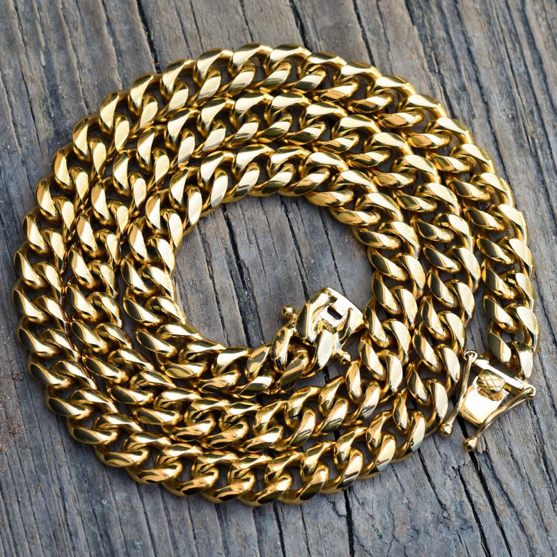 10MM Men's Miami Cuban Link Chain 14k Yellow Gold Finish Over Stainless Steel 30 IN