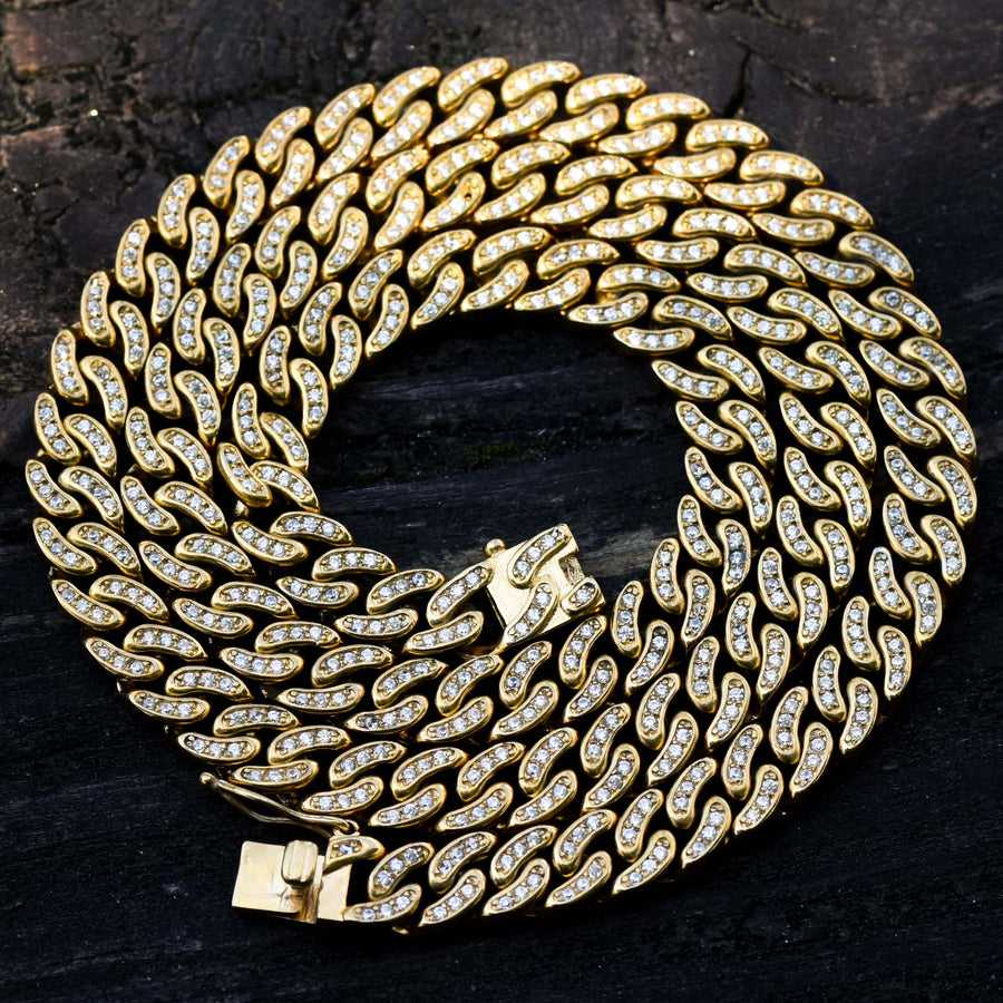 10MM Miami Cuban Fully Iced Out Chain 14k Yellow Gold Finish Over Stainless Steel 30 IN