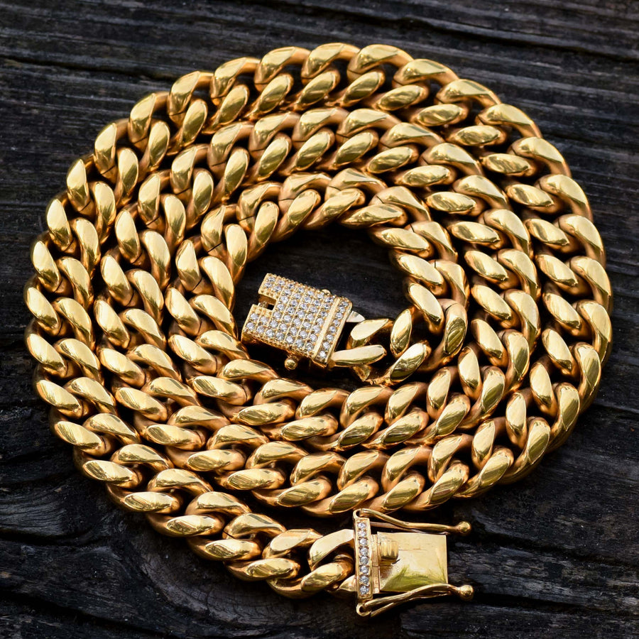 Miami Cuban Iced Out Lock Designer Chain 12MM 14k Yellow Gold Finish 24 IN New