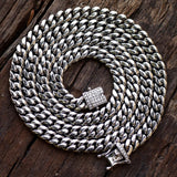 "Men's Stainless Steel Miami Cuban Designer 30"" 8mm 14k White Gold Finish Iced Out Lock"