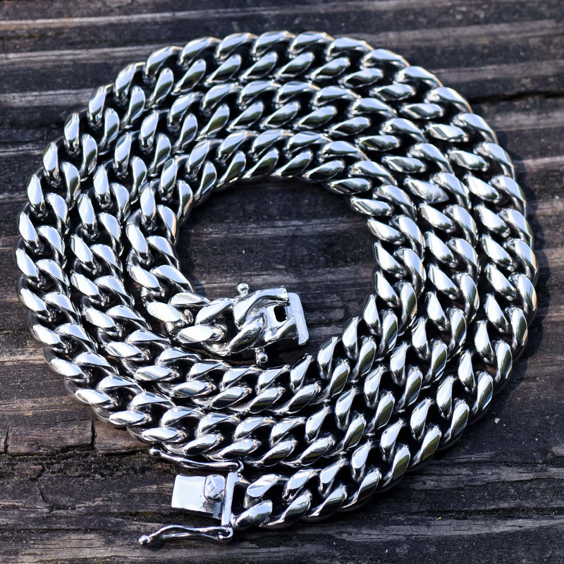 10MM Men's Miami Cuban Link chain 14k White Gold Finish Over Stainless Steel 30 IN
