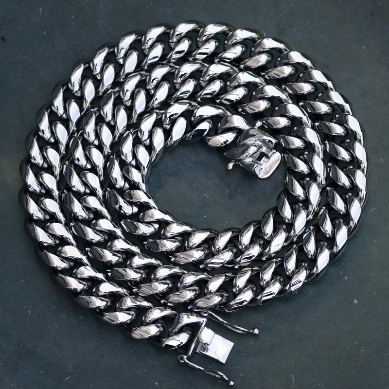 14MM Men's Miami Cuban Link Chain 14k White Gold Finish Over Stainless Steel 30