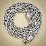 Stainless Steel Designer Rope Necklace 6MM 14k White Gold Finish 24 Inches New