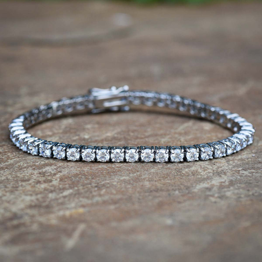 Designer Stainless Steel Tennis Bracelet 14k White Gold Finish 8 Inches 4MM New