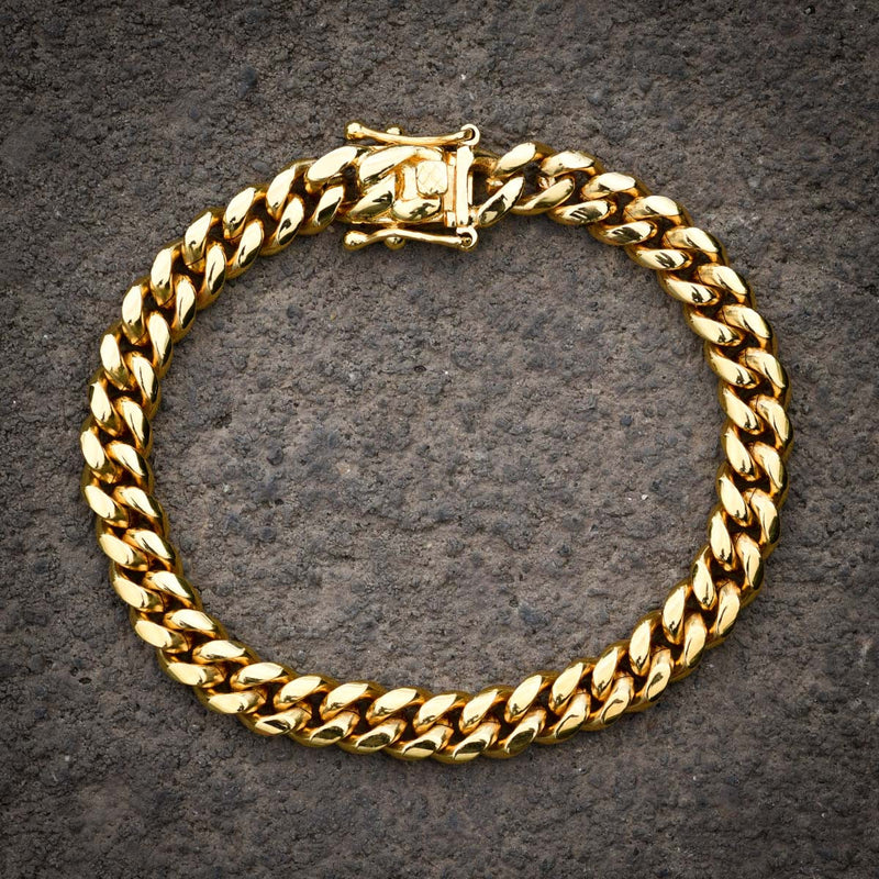 Stainless Steel Miami Cuban Link Bracelet 14k Yellow Gold Finish 8MM Inches New