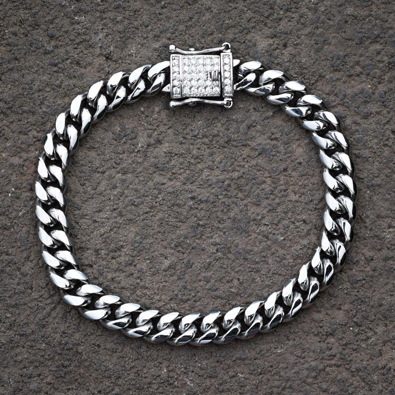 Designer Stainless Steel Cuban Bracelet 8mm 14k White Gold Finish Over