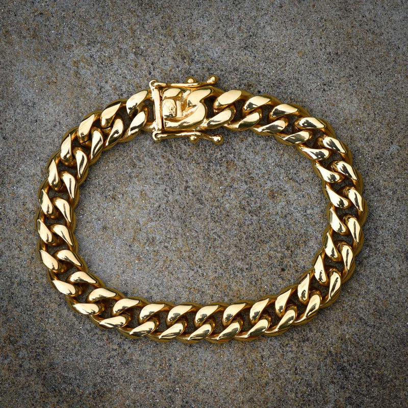 Stainless Steel Miami Cuban Link Bracelet 14k Yellow Gold Finish 10MM Inches New