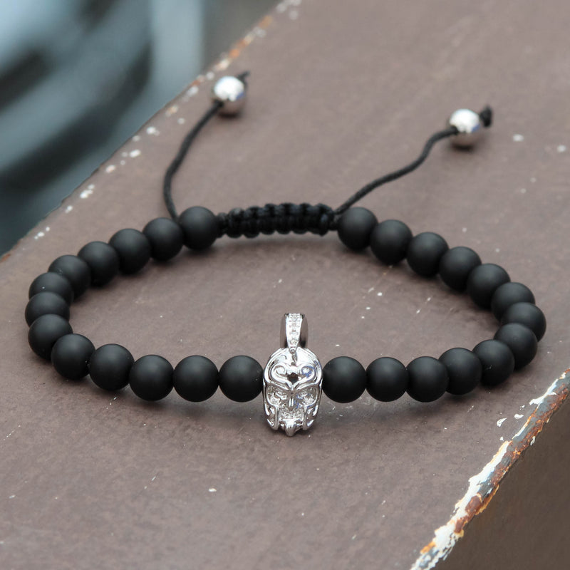 Designer Armour Head Matte Beaded Charm Black Bracelet