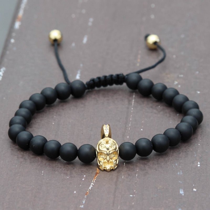 Designer Armour Head Matte Beaded Charm Black Bracelet 14K Yellow Gold Finish