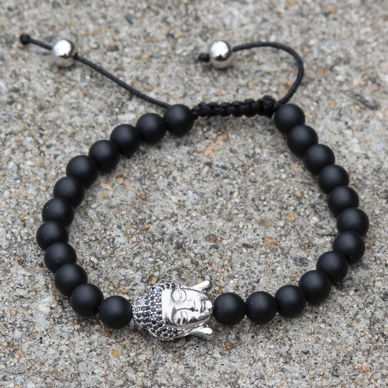 Buddha Head Charm Black Bead Bracelet  White Gold Finish Braided Lock