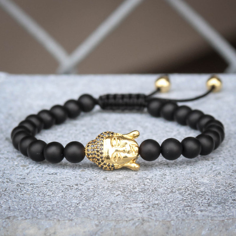 Buddha Head Charm Black Bead Bracelet Yellow Gold Finish Braided Lock