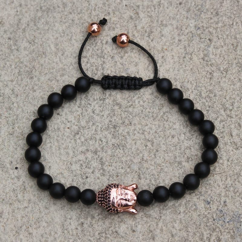 Buddha Head Charm Black Bead Bracelet Rose  Gold Finish Braided Lock