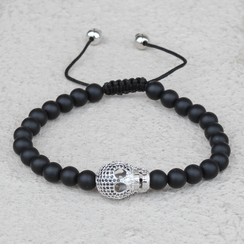 Black Bead Ball Bracelet Iced Out Skull Skeleton Head Black CZ