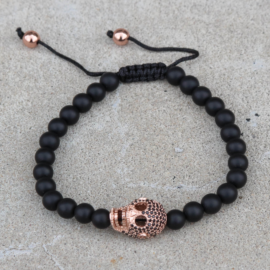 Black Bead Ball Bracelet Iced Out Skull Skeleton Head Black CZ Rose Gold Tone