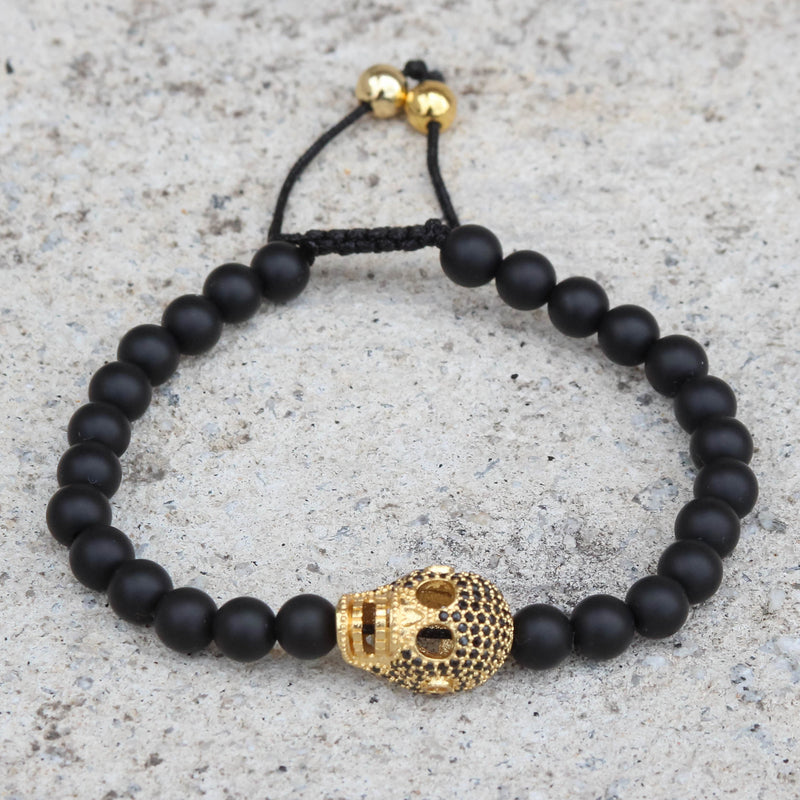 Black Bead Ball Bracelet Iced Out Skull Skeleton Head Black CZ Gold Tone