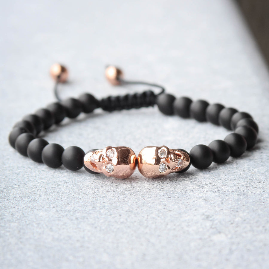Rose Gold Tone Double Skull Head Bracelet Black Beaded Ball Link