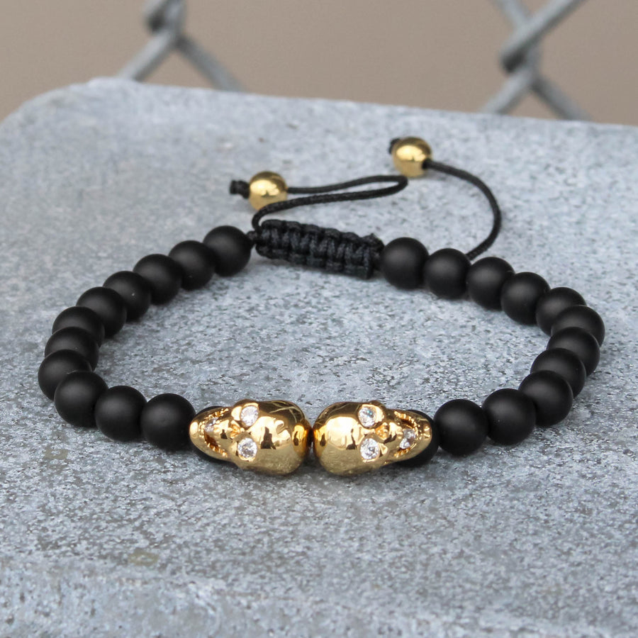 Gold Tone Double Skull Head Bracelet Black Beaded Ball Link