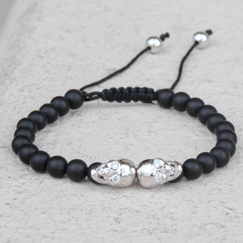 Silver Tone Double Skull Head Bracelet Black Beaded Ball Link