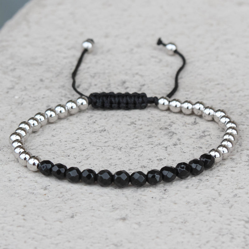 Men's Bead Link Bracelet Braided Black & Silver Designer New