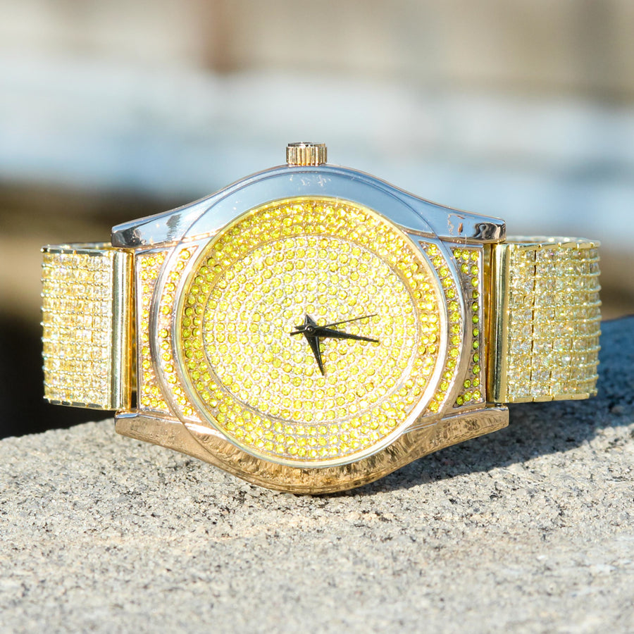 Canary Custom Techno Pave Yellow Gold Tone Fully Iced Out Watch
