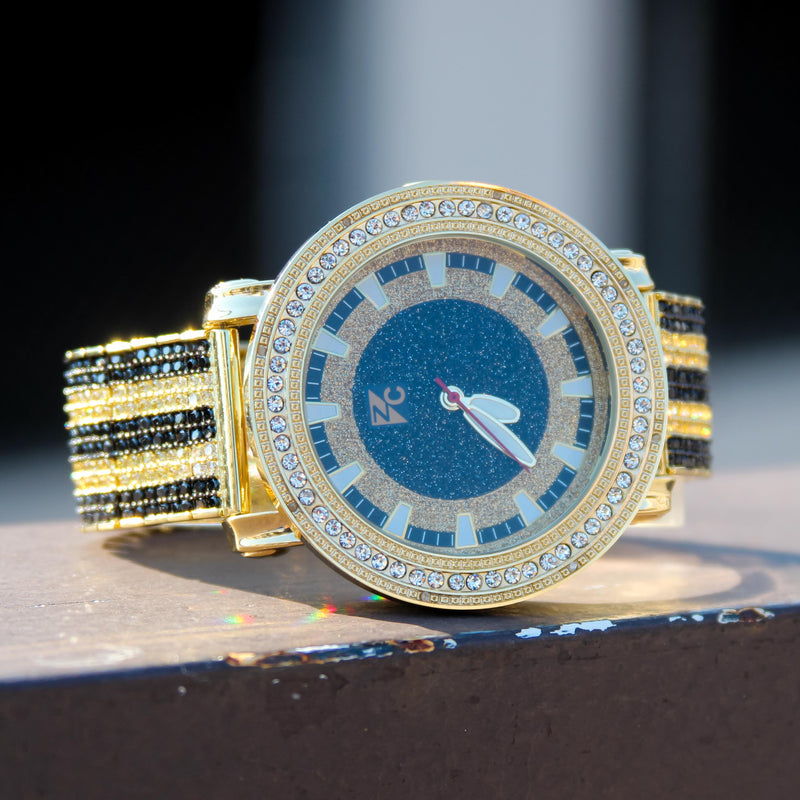 Custom Fully Iced Out Black Gold Tone CZ Diamond Men's Watch