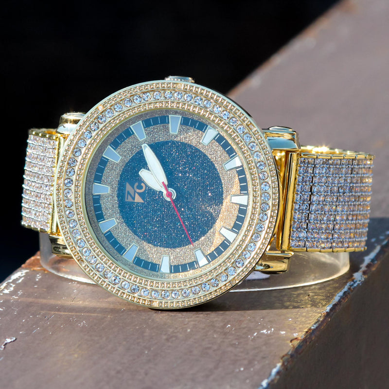 Custom Fully Iced Out Yellow Gold Tone CZ Diamonds Men's Watch
