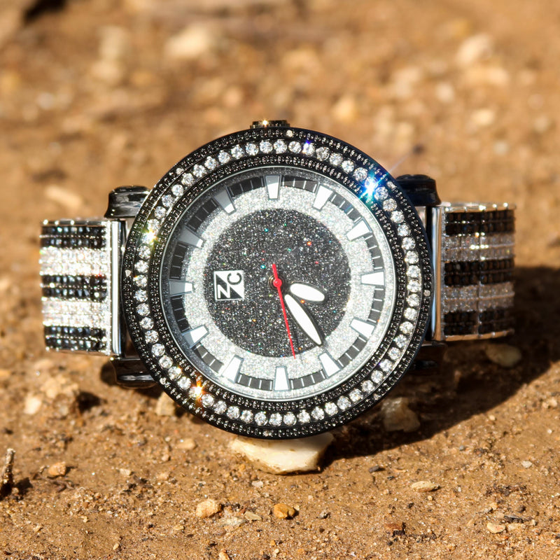 Custom Fully Ice Out Men's Watch Black & White CZ Diamonds