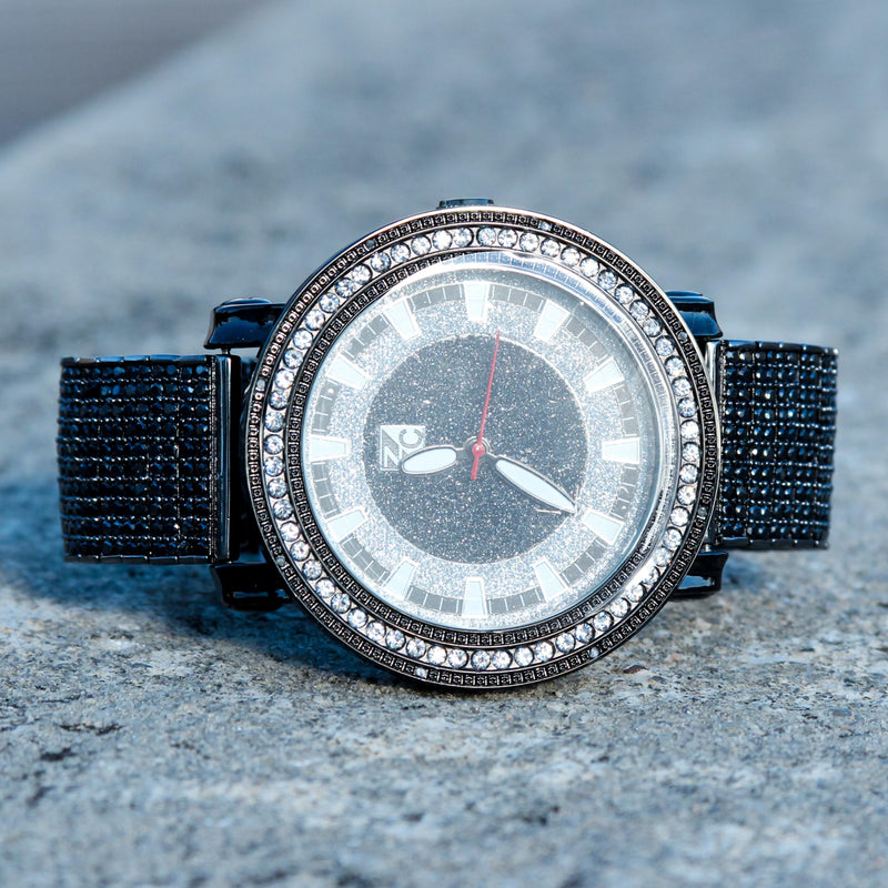 Black CZ Fully Iced Out Custom Men's Watch