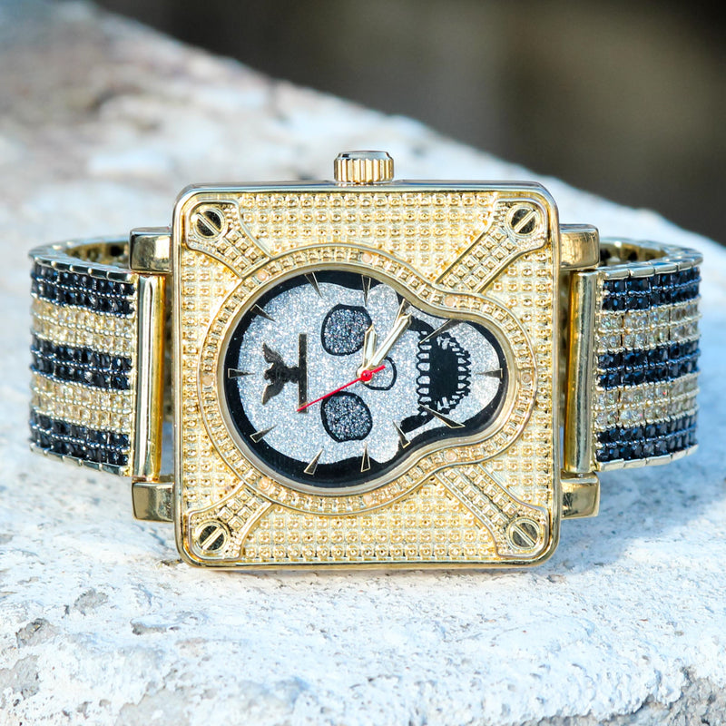 Men's Custom Skull Black & Gold Tone CZ Diamonds Watch Hip Hop