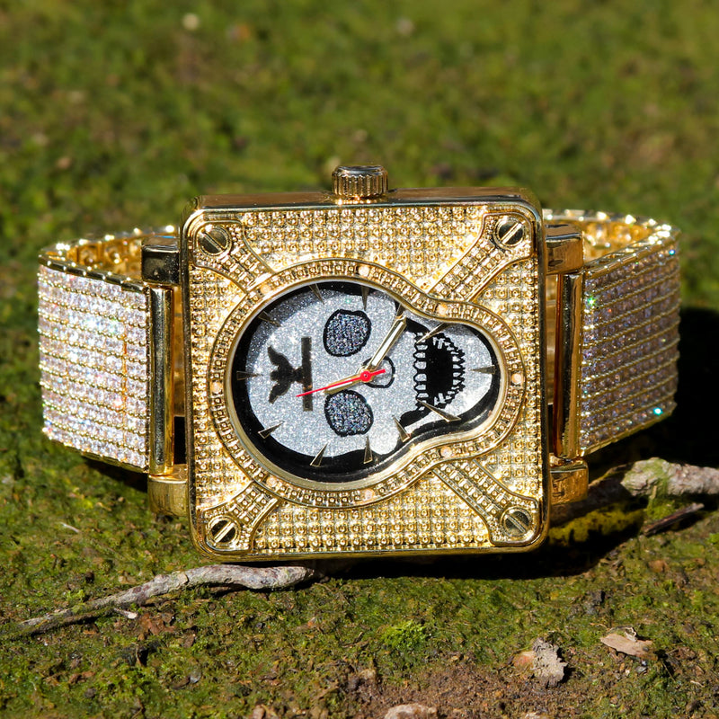 Men's Custom Skull Yellow Gold Tone CZ Diamonds Watch Hip Hop