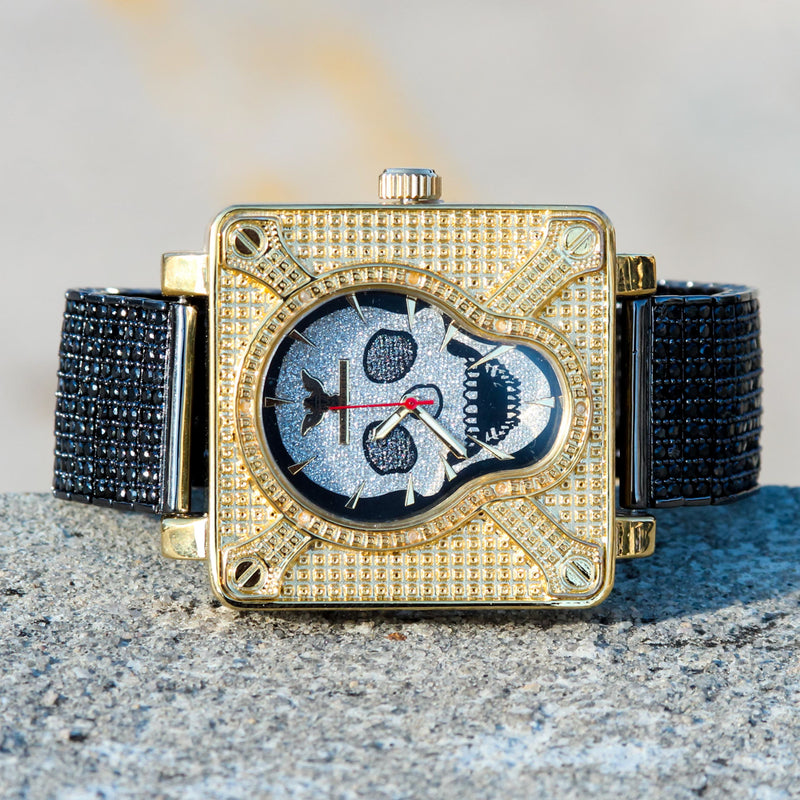 Men's Custom Skull Black Gold Tone CZ Diamonds Watch Hip Hop