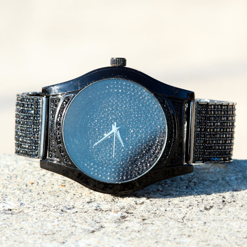 Black CZ Custom Techno Pave Fully Iced Out Watch
