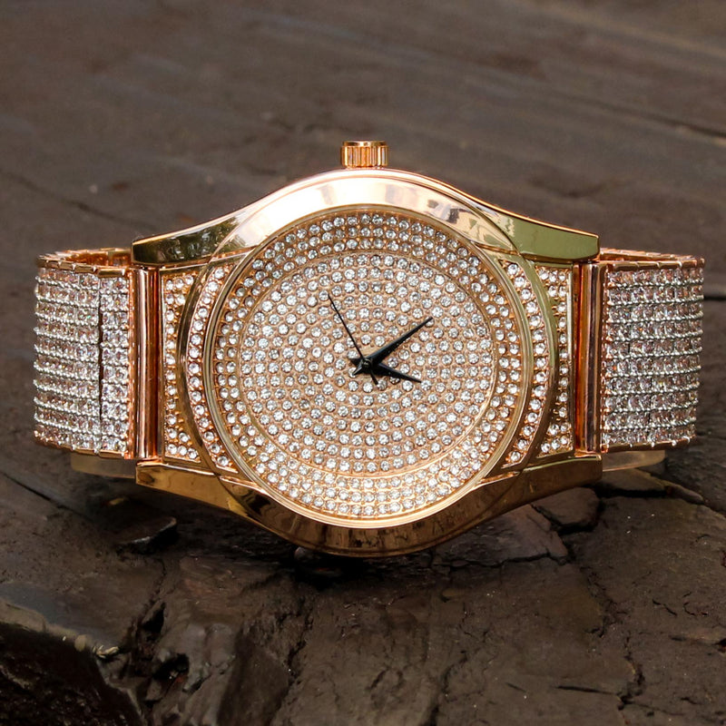 Custom CZ Rose Gold Tone Techno Pave Fully Iced Out Watch