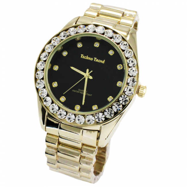 Techno Trend Gold Iced Out Watch