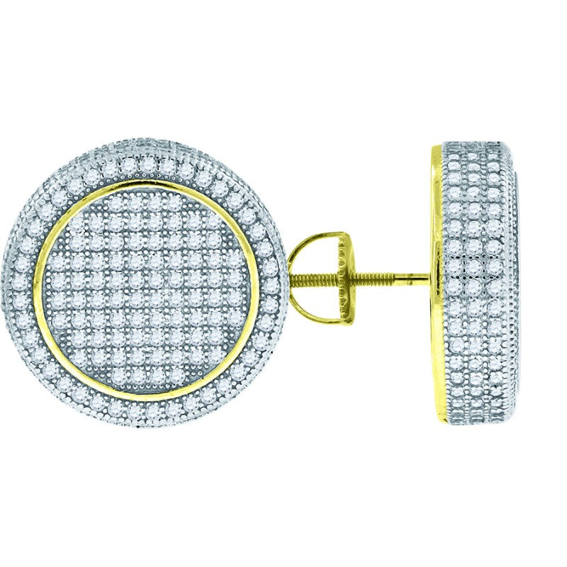 Mens Round Diamond Gold Earring 18mm