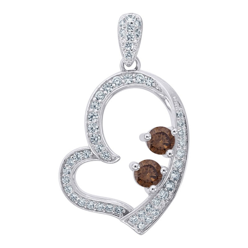 Womens Heart Silver Pendant Gemstone Chocolate 25mm