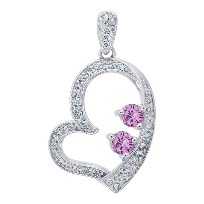 Womens Heart Silver Pendant Gemstone Pink 25mm