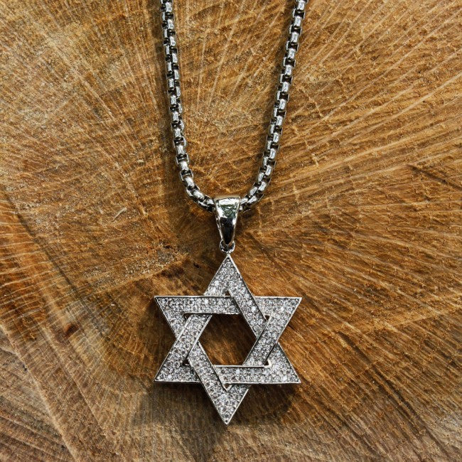 Silver Star of David Pendant 30mm