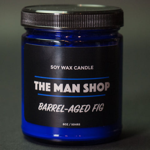 The Man Shop Barrel-Aged Fig Soy Wax Candle Cobalt