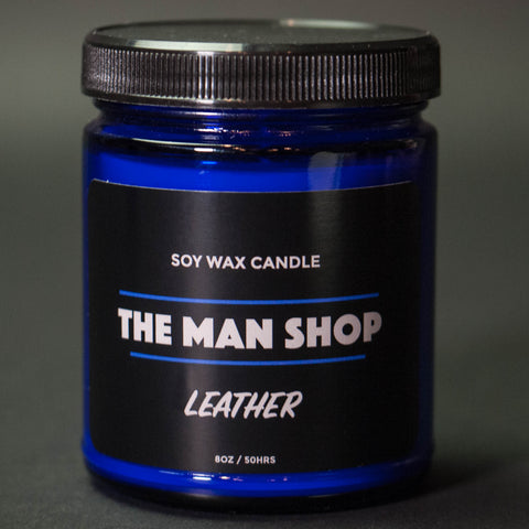 The Man Shop Leather Soy Wax Candle Cobalt
