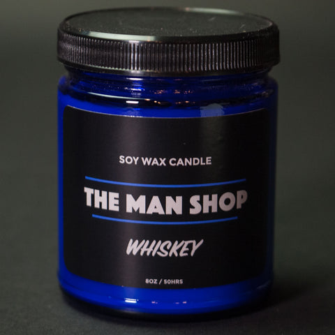 The Man Shop Whiskey Soy Wax Candle Cobalt