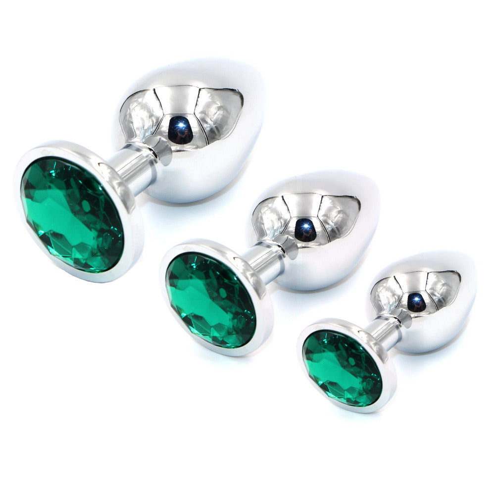 3 In 1 Luxgem Small,Medium -Large Metal Butt Plug With -7487